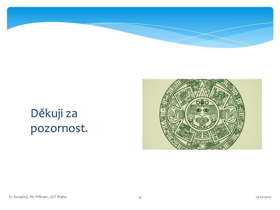 Děkuji za pozornost. 13.10.2012M. Konečný, PA Příbram, CKT Praha9
