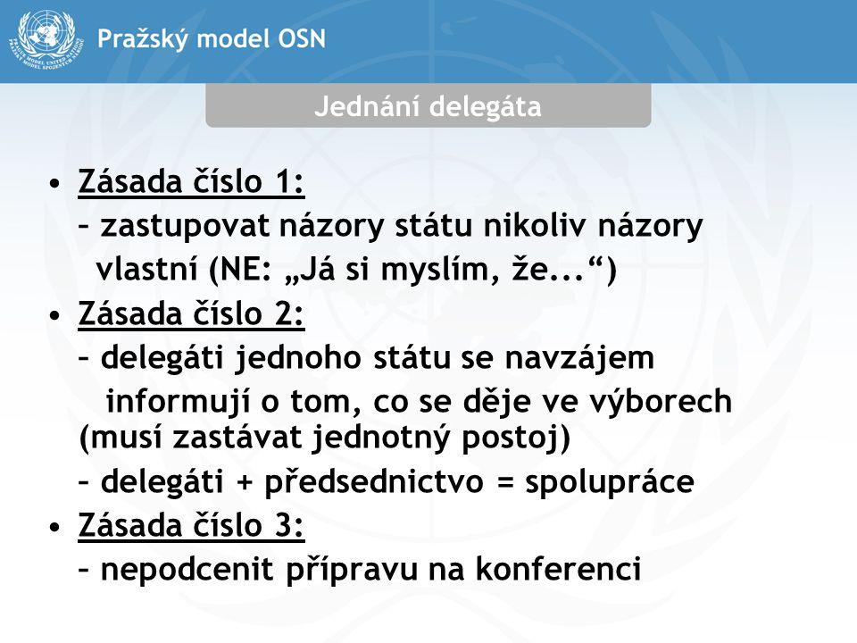 """Jednání delegáta Zásada číslo 1: – zastupovat názory státu nikoliv názory vlastní (NE: """"Já si myslím, že... ) Zásada číslo 2: – delegáti jednoho státu se navzájem informují o tom, co se děje ve výborech (musí zastávat jednotný postoj) – delegáti + předsednictvo = spolupráce Zásada číslo 3: – nepodcenit přípravu na konferenci"""