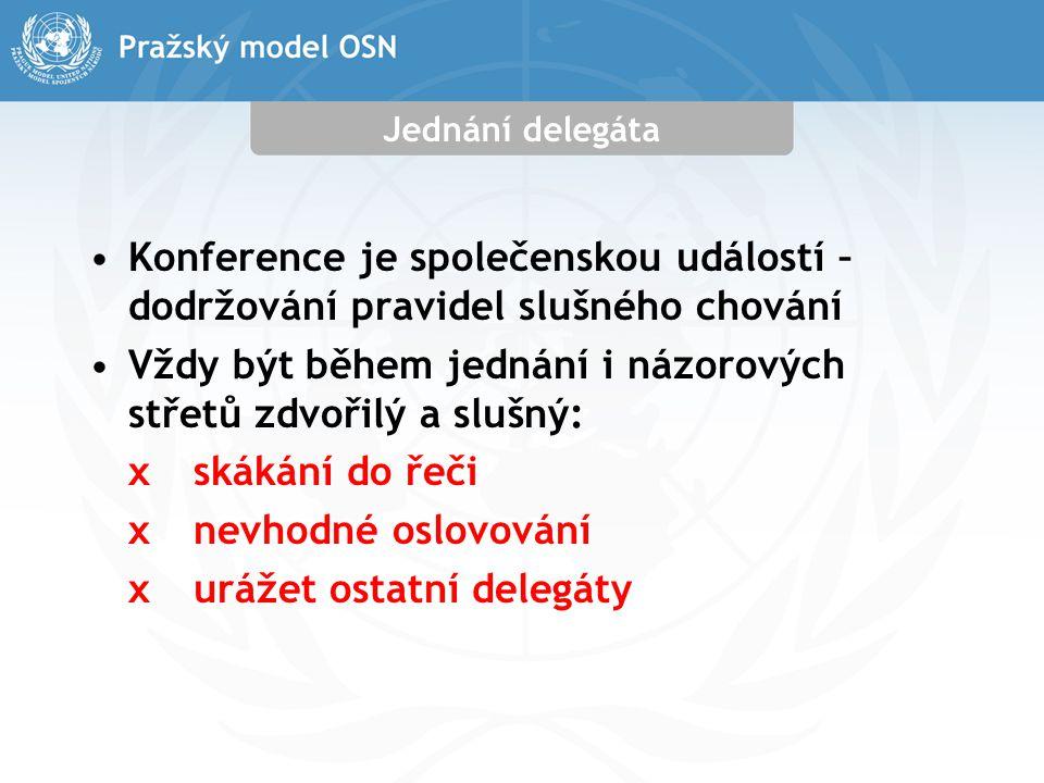 Jednání delegáta Konference je společenskou událostí – dodržování pravidel slušného chování Vždy být během jednání i názorových střetů zdvořilý a slušný: xskákání do řeči xnevhodné oslovování xurážet ostatní delegáty