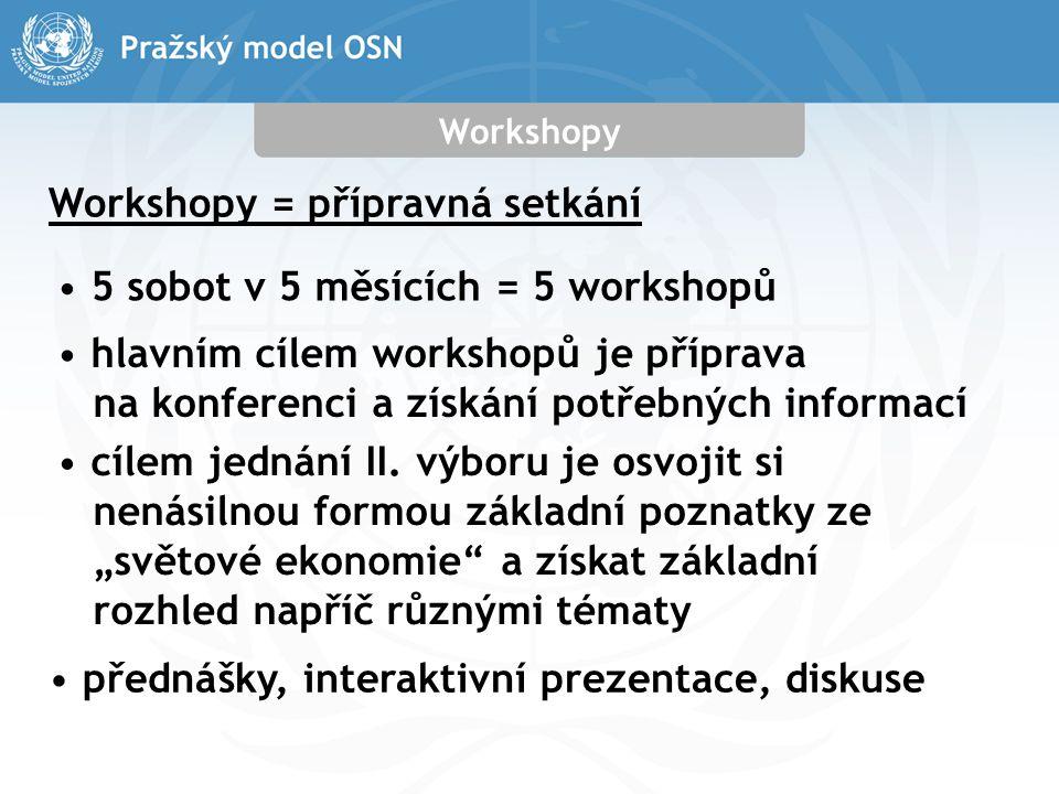 Workshopy Workshopy = přípravná setkání 5 sobot v 5 měsících = 5 workshopů hlavním cílem workshopů je příprava na konferenci a získání potřebných informací cílem jednání II.