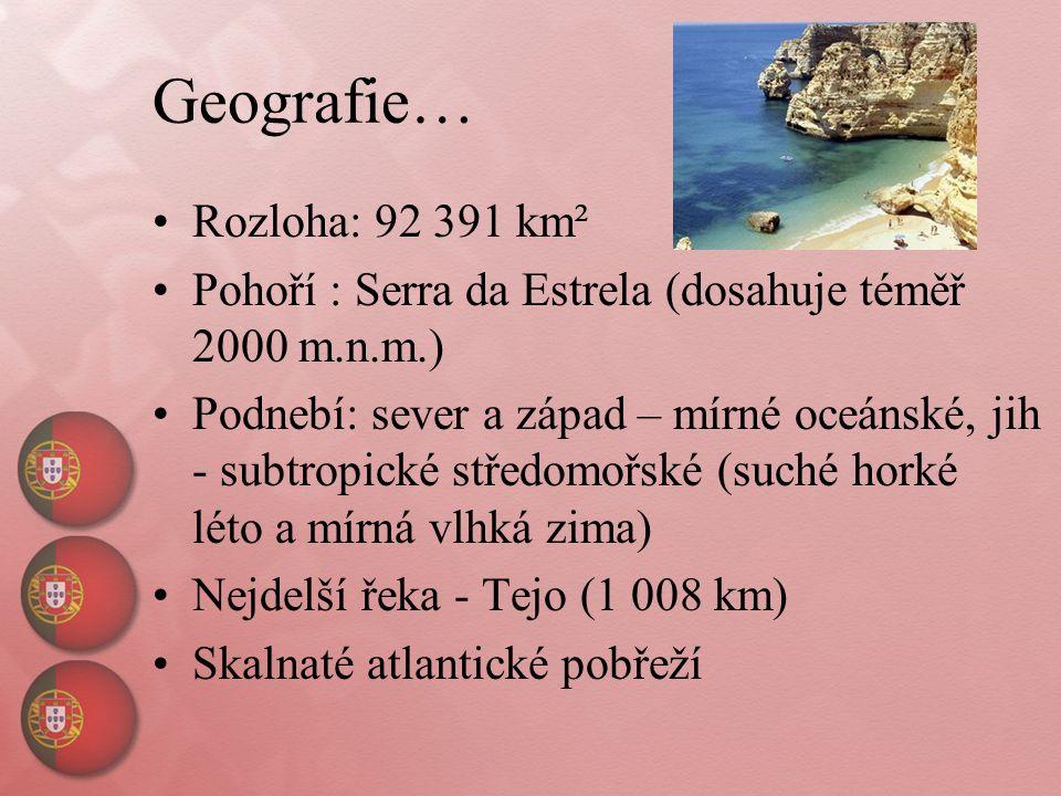 Geografie… Rozloha: 92 391 km² Pohoří : Serra da Estrela (dosahuje téměř 2000 m.n.m.) Podnebí: sever a západ – mírné oceánské, jih - subtropické střed