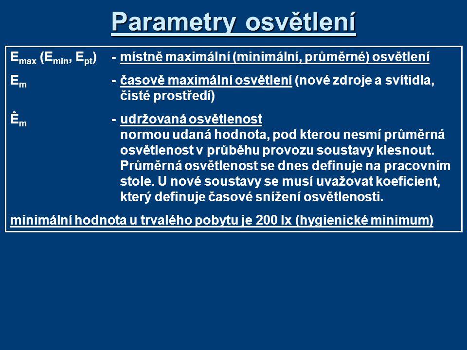 Parametry osvětlení E max (E min, E pt )-místně maximální (minimální, průměrné) osvětlení E m -časově maximální osvětlení (nové zdroje a svítidla, čisté prostředí) Ê m -udržovaná osvětlenost normou udaná hodnota, pod kterou nesmí průměrná osvětlenost v průběhu provozu soustavy klesnout.