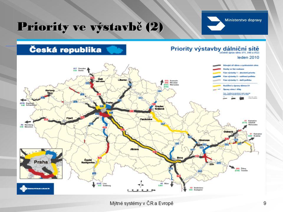 Mýtné systémy v ČR a Evropě 9 Priority ve výstavb ě (2)