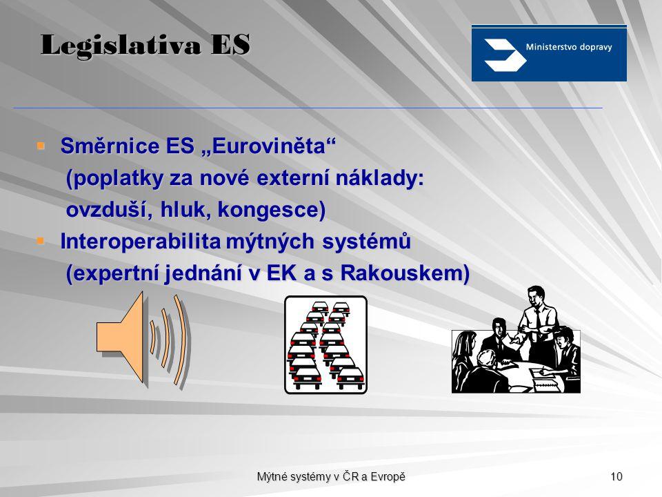 """Mýtné systémy v ČR a Evropě 10 Legislativa ES  Směrnice ES """"Euroviněta"""" (poplatky za nové externí náklady: (poplatky za nové externí náklady: ovzduší"""