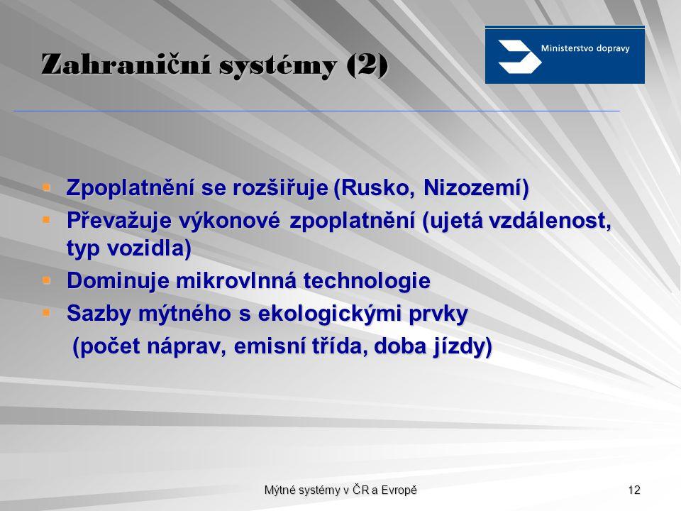 Mýtné systémy v ČR a Evropě 12 Zahrani č ní systémy (2)  Zpoplatnění se rozšiřuje (Rusko, Nizozemí)  Převažuje výkonové zpoplatnění (ujetá vzdálenost, typ vozidla)  Dominuje mikrovlnná technologie  Sazby mýtného s ekologickými prvky (počet náprav, emisní třída, doba jízdy) (počet náprav, emisní třída, doba jízdy)
