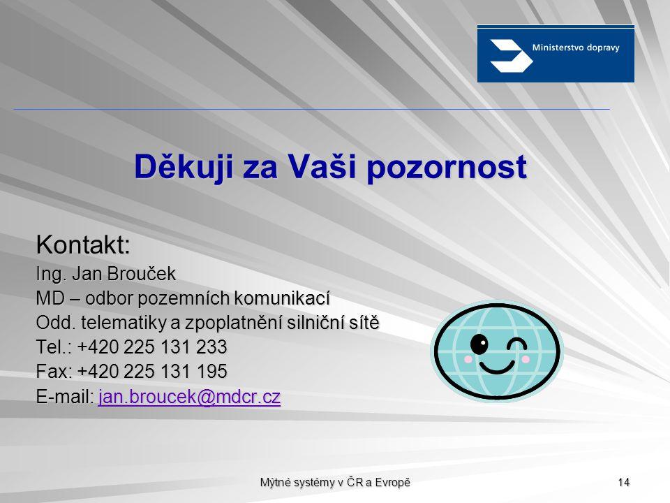 Mýtné systémy v ČR a Evropě 14 Děkuji za Vaši pozornost Kontakt: Ing. Jan Brouček MD – odbor pozemních komunikací Odd. telematiky a zpoplatnění silnič