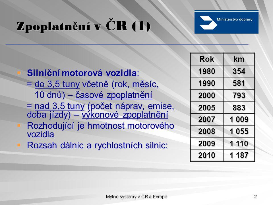 Mýtné systémy v ČR a Evropě 2 Zpoplatn ě ní v Č R (1)  Silniční motorová vozidla: = do 3,5 tuny včetně (rok, měsíc, = do 3,5 tuny včetně (rok, měsíc, 10 dnů) – časové zpoplatnění 10 dnů) – časové zpoplatnění = nad 3,5 tuny (počet náprav, emise, doba jízdy) – výkonové zpoplatnění = nad 3,5 tuny (počet náprav, emise, doba jízdy) – výkonové zpoplatnění  Rozhodující je hmotnost motorového vozidla  Rozsah dálnic a rychlostních silnic: Rokkm 1980354 1990581 2000793 2005883 2007 1 009 2008 1 055 2009 1 110 2010 1 187