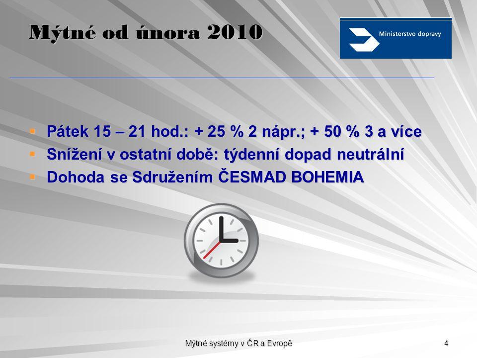 Mýtné systémy v ČR a Evropě 4 Mýtné od února 2010  Pátek 15 – 21 hod.: + 25 % 2 nápr.; + 50 % 3 a více  Snížení v ostatní době: týdenní dopad neutrá