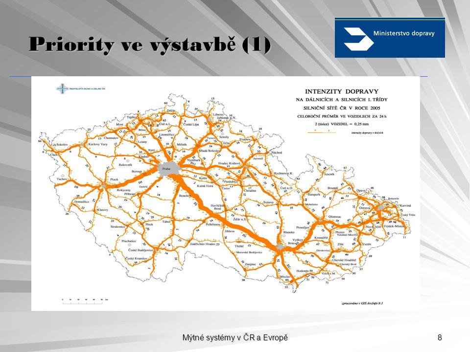Mýtné systémy v ČR a Evropě 8 Priority ve výstavb ě (1)