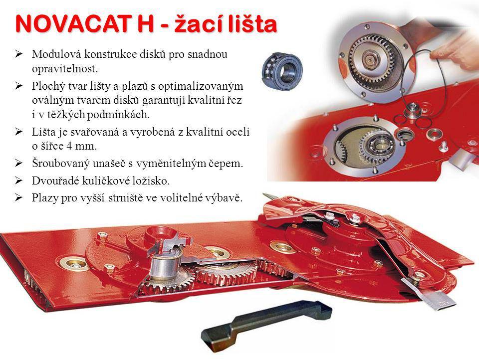 NOVACAT H - ž ací lišta MM odulová konstrukce disků pro snadnou opravitelnost. PP lochý tvar lišty a plazů s optimalizovaným oválným tvarem disků