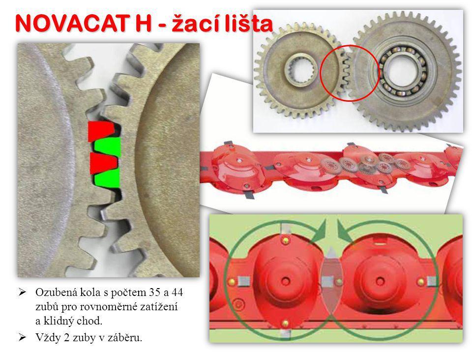 OO zubená kola s počtem 35 a 44 zubů pro rovnoměrné zatížení a klidný chod. VV ždy 2 zuby v záběru.