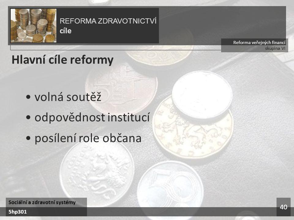 Reforma veřejných financí skupina VI REFORMA ZDRAVOTNICTVÍ cíle Sociální a zdravotní systémy 5hp301 40 Hlavní cíle reformy volná soutěž odpovědnost institucí posílení role občana