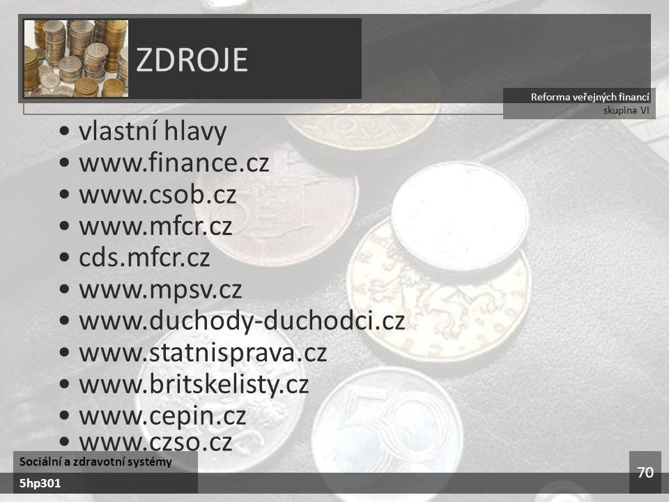 Reforma veřejných financí skupina VI ZDROJE Sociální a zdravotní systémy 5hp301 70 vlastní hlavy www.finance.cz www.csob.cz www.mfcr.cz cds.mfcr.cz www.mpsv.cz www.duchody-duchodci.cz www.statnisprava.cz www.britskelisty.cz www.cepin.cz www.czso.cz