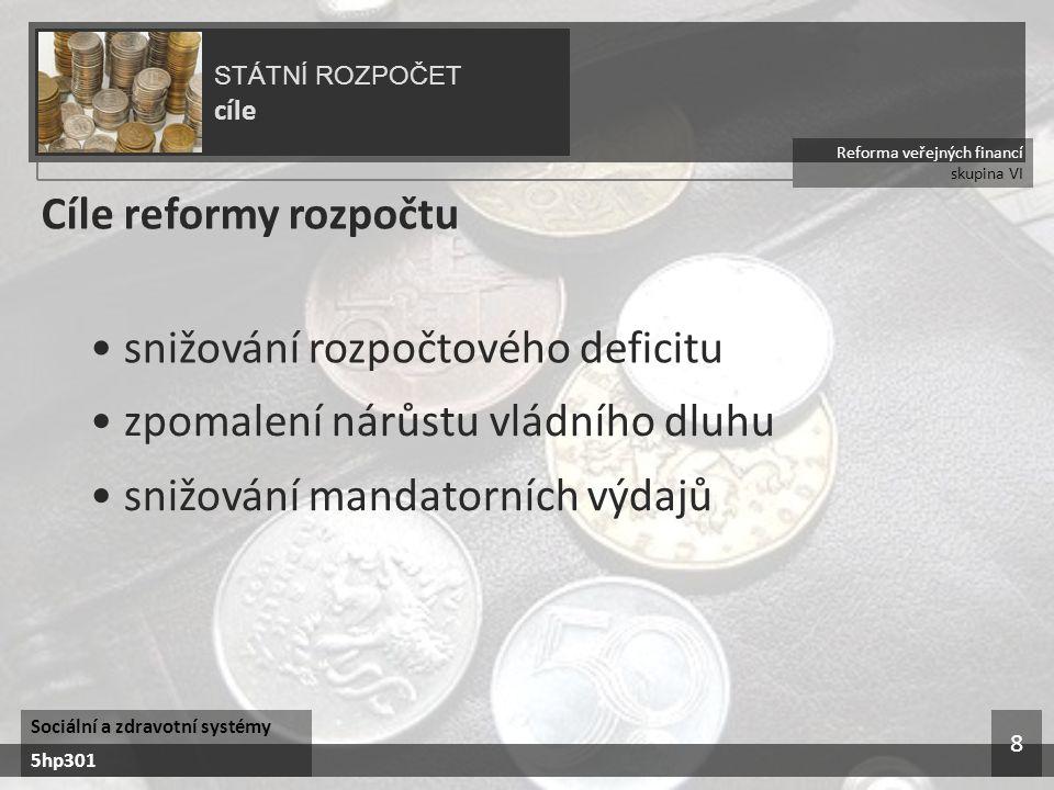 Reforma veřejných financí skupina VI STÁTNÍ ROZPOČET cíle Sociální a zdravotní systémy 5hp301 8 Cíle reformy rozpočtu snižování rozpočtového deficitu