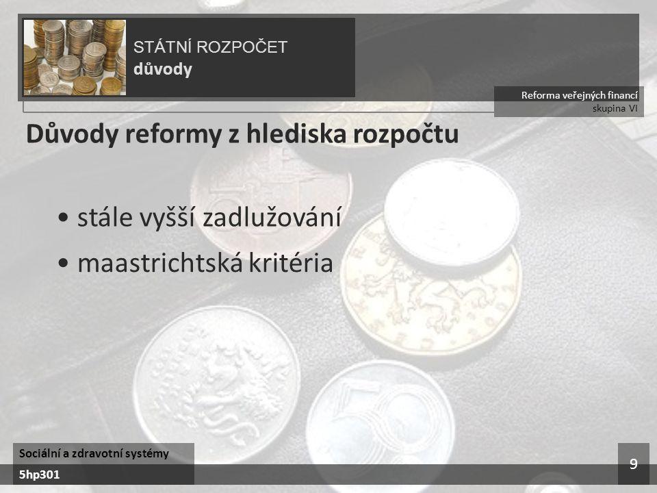 Reforma veřejných financí skupina VI STÁTNÍ ROZPOČET důvody Sociální a zdravotní systémy 5hp301 9 Důvody reformy z hlediska rozpočtu stále vyšší zadlu