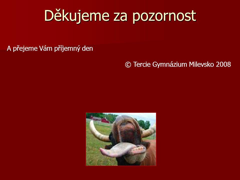 Děkujeme za pozornost A přejeme Vám příjemný den © Tercie Gymnázium Milevsko 2008