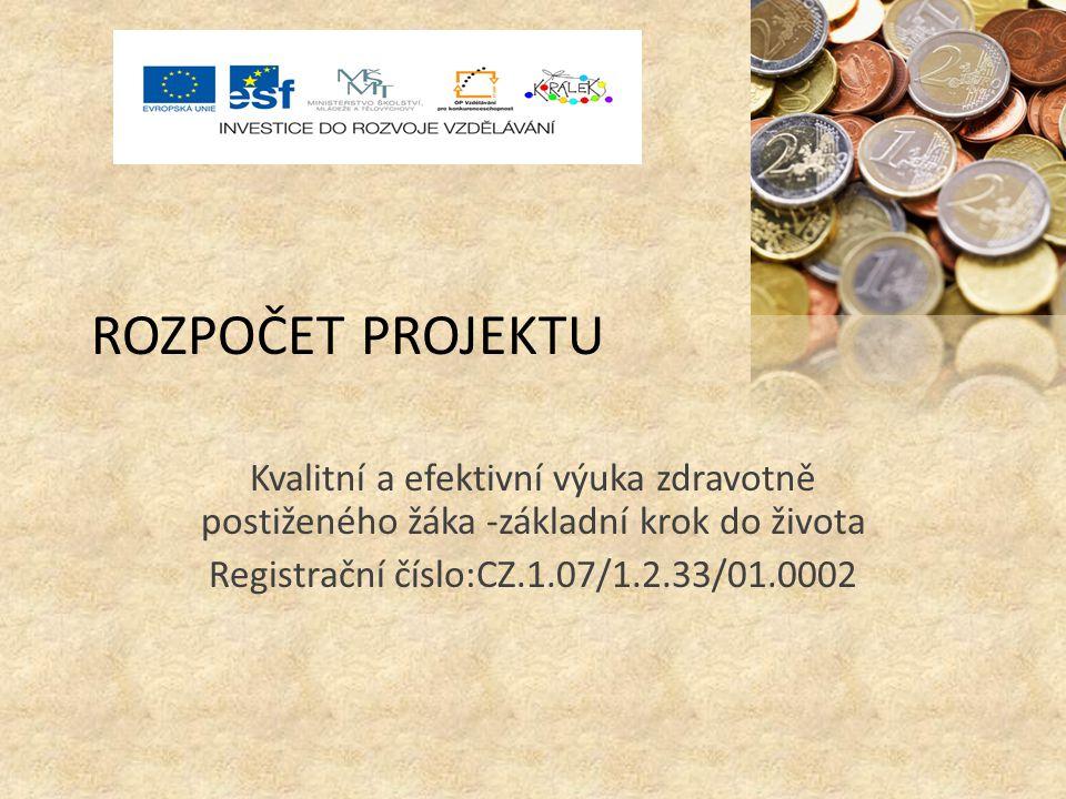 ROZPOČET PROJEKTU Kvalitní a efektivní výuka zdravotně postiženého žáka -základní krok do života Registrační číslo:CZ.1.07/1.2.33/01.0002