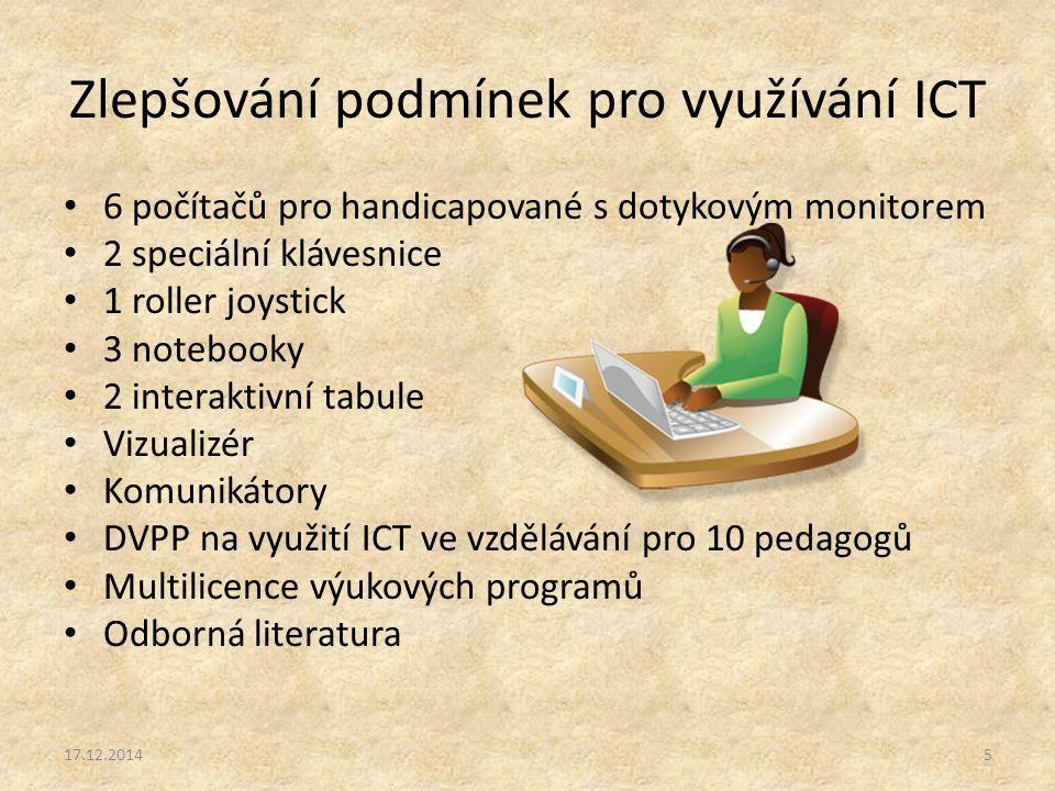 Zlepšování podmínek pro využívání ICT 6 počítačů pro handicapované s dotykovým monitorem 2 speciální klávesnice 1 roller joystick 3 notebooky 2 interaktivní tabule Vizualizér Komunikátory DVPP na využití ICT ve vzdělávání pro 10 pedagogů Multilicence výukových programů Odborná literatura 17.12.20145