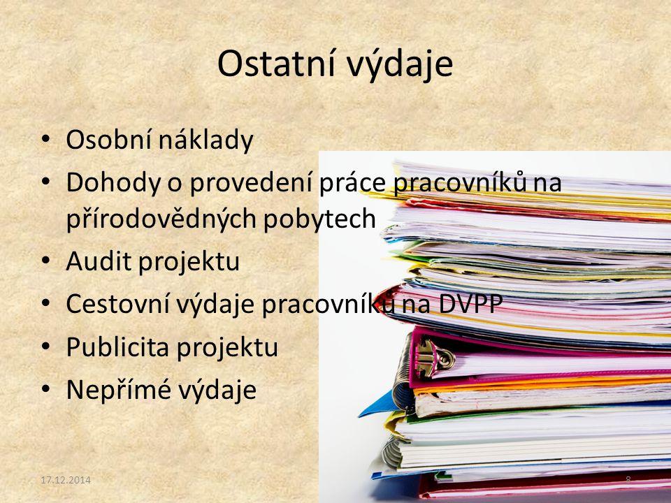 Ostatní výdaje Osobní náklady Dohody o provedení práce pracovníků na přírodovědných pobytech Audit projektu Cestovní výdaje pracovníků na DVPP Publicita projektu Nepřímé výdaje 17.12.20148