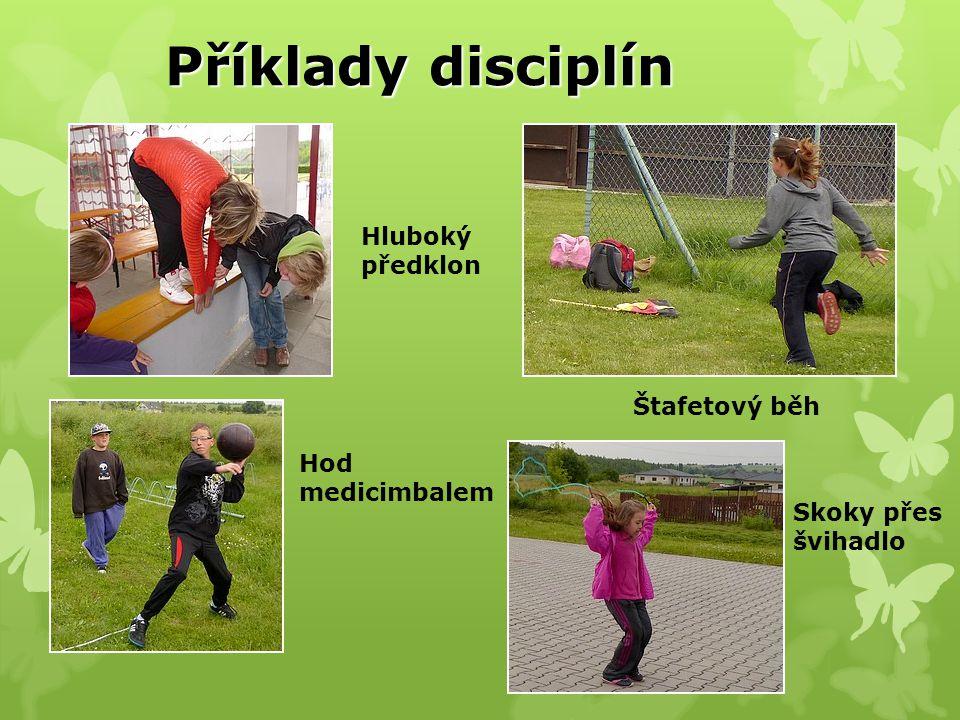 Příklady disciplín Hluboký předklon Štafetový běh Skoky přes švihadlo Hod medicimbalem