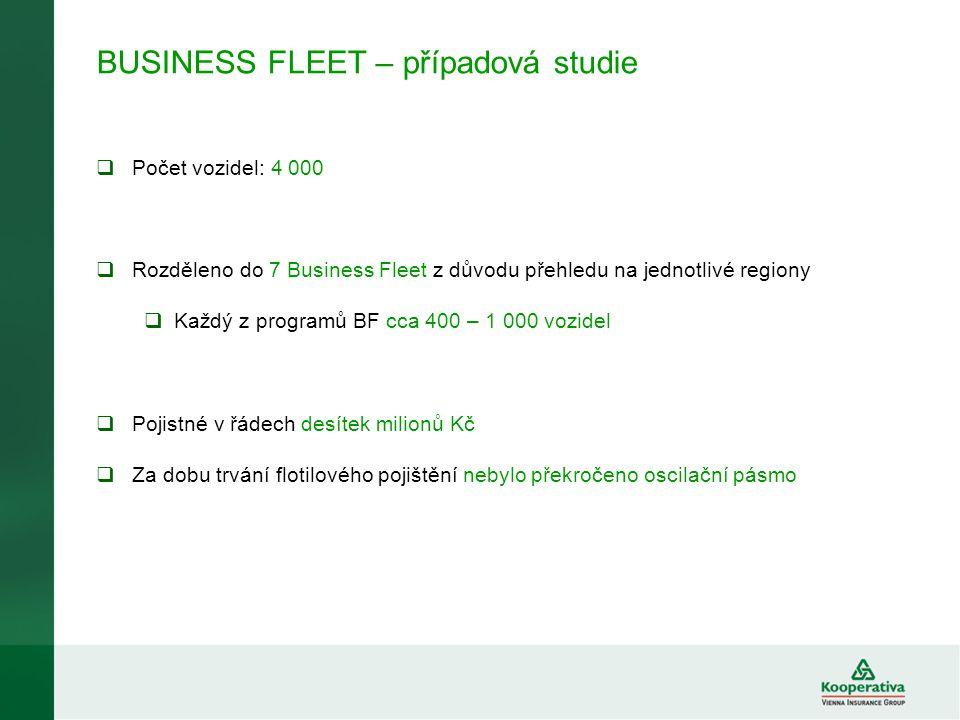 BUSINESS FLEET – případová studie  Počet vozidel: 4 000  Rozděleno do 7 Business Fleet z důvodu přehledu na jednotlivé regiony  Každý z programů BF