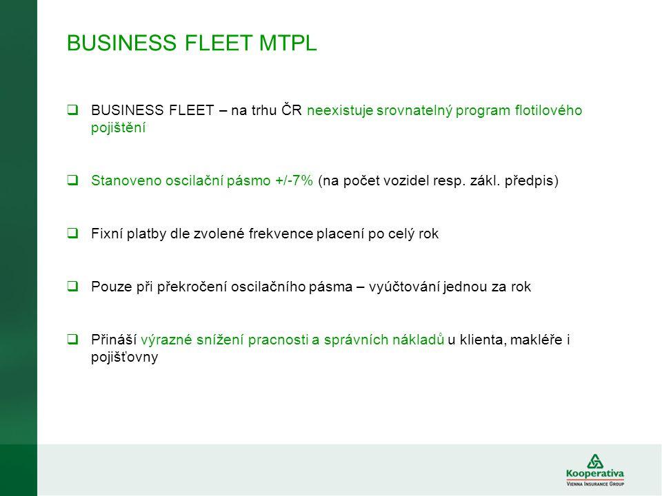 BUSINESS FLEET MTPL  BUSINESS FLEET – na trhu ČR neexistuje srovnatelný program flotilového pojištění  Stanoveno oscilační pásmo +/-7% (na počet voz
