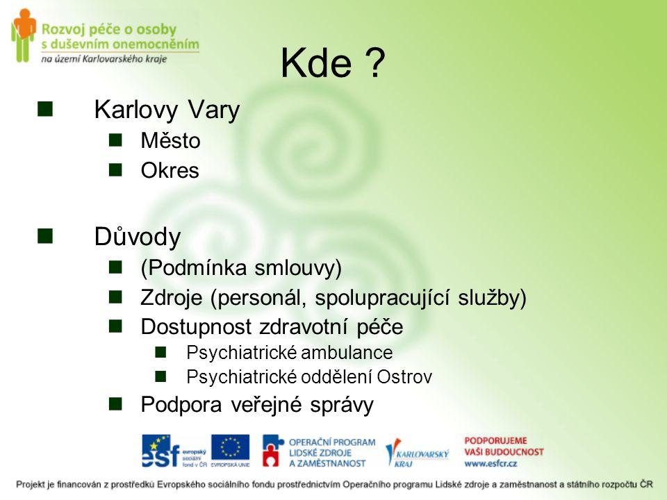 Kde ? Karlovy Vary Město Okres Důvody (Podmínka smlouvy) Zdroje (personál, spolupracující služby) Dostupnost zdravotní péče Psychiatrické ambulance Ps