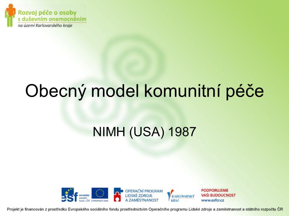 Obecný model komunitní péče NIMH (USA) 1987