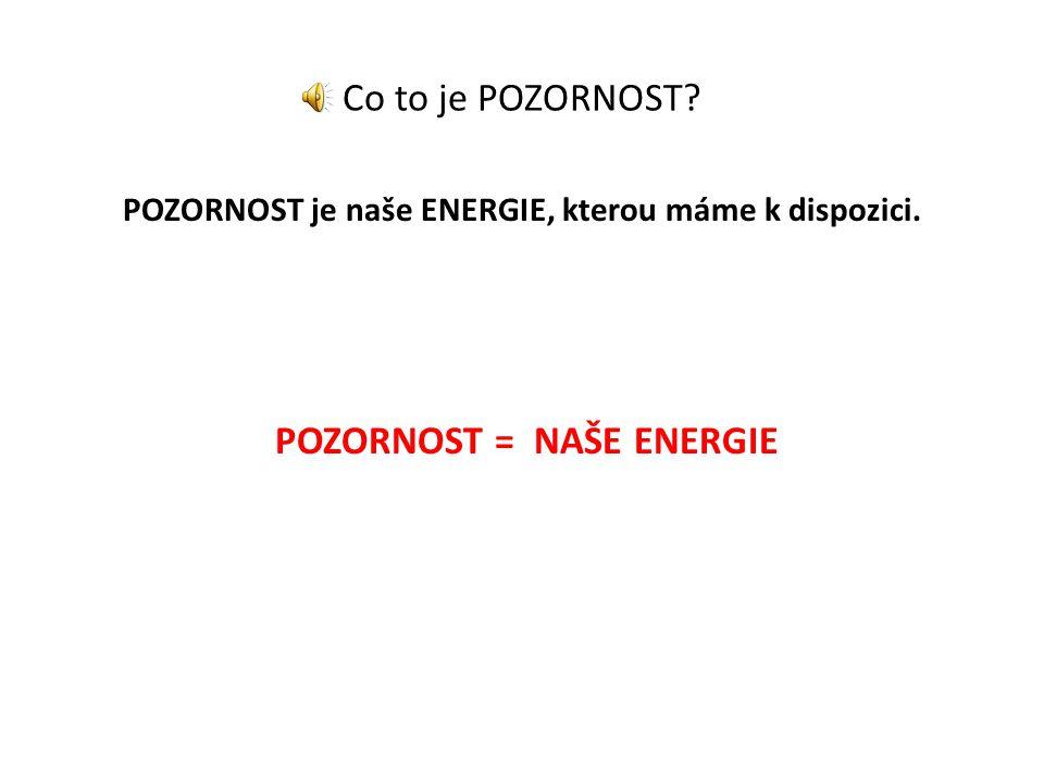 Co to je POZORNOST? POZORNOST je naše ENERGIE, kterou máme k dispozici. POZORNOST = NAŠE ENERGIE