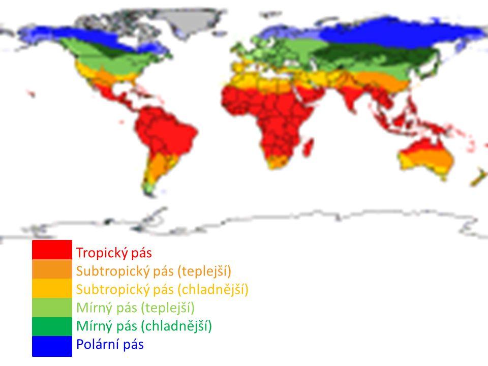Tropický pás Subtropický pás (teplejší) Subtropický pás (chladnější) Mírný pás (teplejší) Mírný pás (chladnější) Polární pás