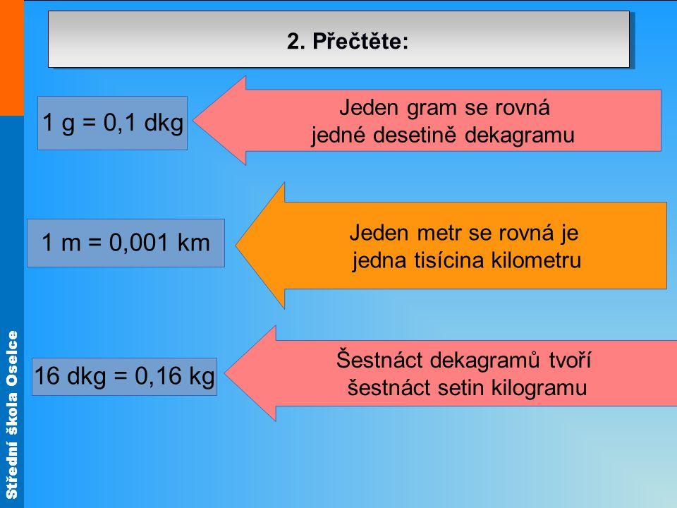 Střední škola Oselce 23 g = 0,023 kg 2 l = 0,02 hl 32 mm = 0,032 m Dva litry se rovnají dvěma setinám hektolitru Dvacet tři gramů tvoří dvacet tři tisícin kilogramů Třicet dva milimetrů je třicet dva tisícin metru 2.