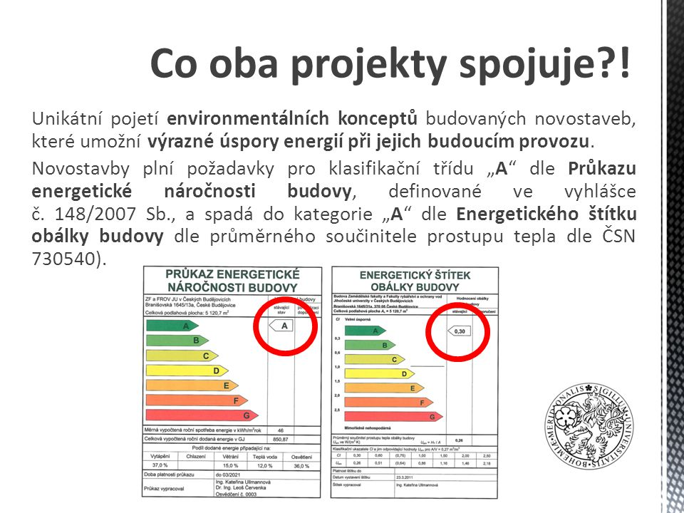 Unikátní pojetí environmentálních konceptů budovaných novostaveb, které umožní výrazné úspory energií při jejich budoucím provozu.