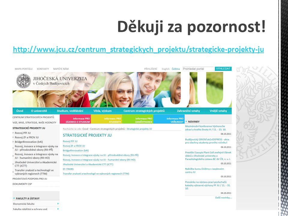 Děkuji za pozornost! http://www.jcu.cz/centrum_strategickych_projektu/strategicke-projekty-ju