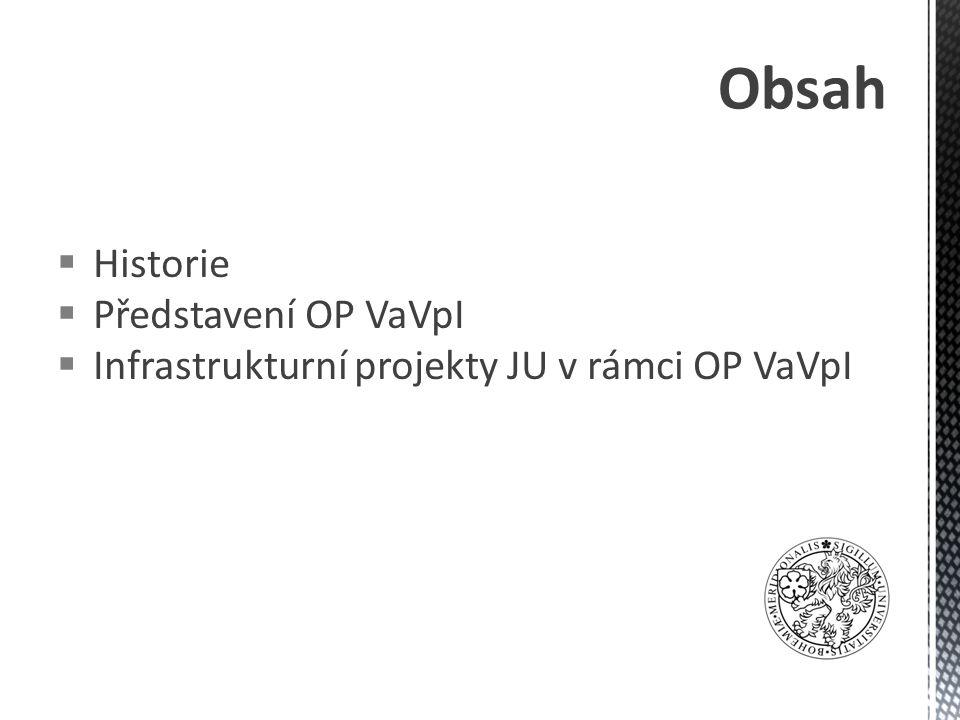 Obsah  Historie  Představení OP VaVpI  Infrastrukturní projekty JU v rámci OP VaVpI