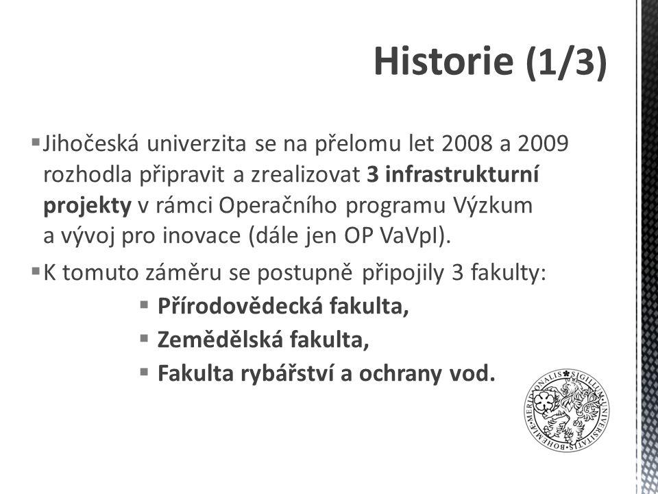  Jihočeská univerzita se na přelomu let 2008 a 2009 rozhodla připravit a zrealizovat 3 infrastrukturní projekty v rámci Operačního programu Výzkum a vývoj pro inovace (dále jen OP VaVpI).
