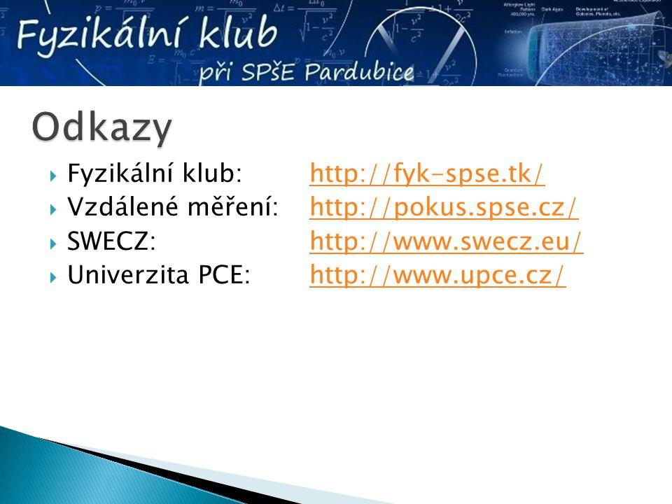  Fyzikální klub: http://fyk-spse.tk/http://fyk-spse.tk/  Vzdálené měření: http://pokus.spse.cz/http://pokus.spse.cz/  SWECZ:http://www.swecz.eu/htt