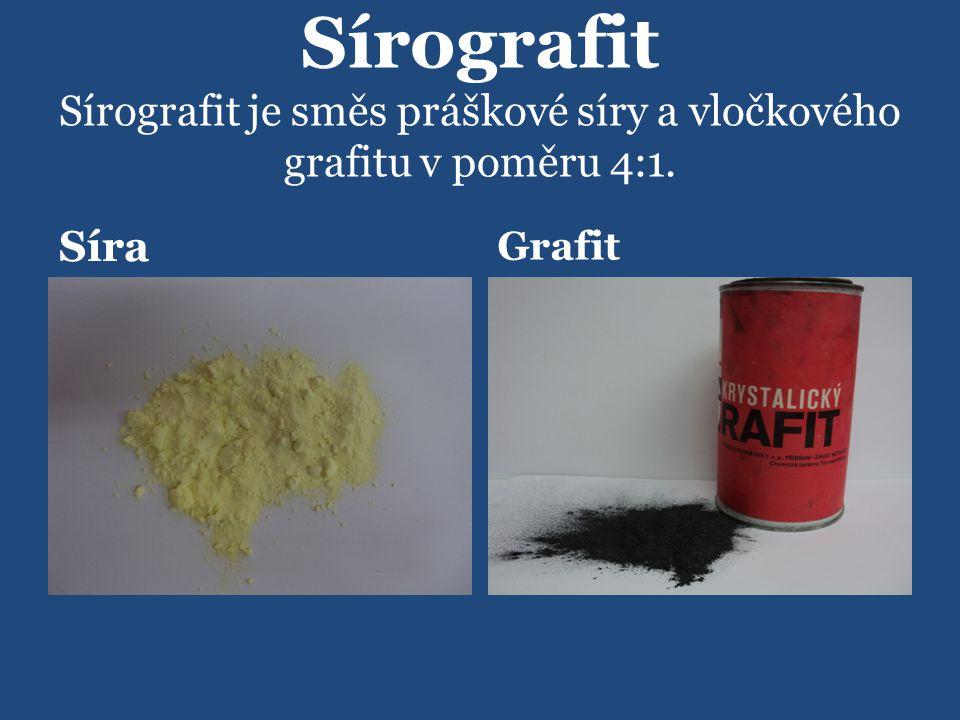 Sírografit Sírografit je směs práškové síry a vločkového grafitu v poměru 4:1. Síra Grafit