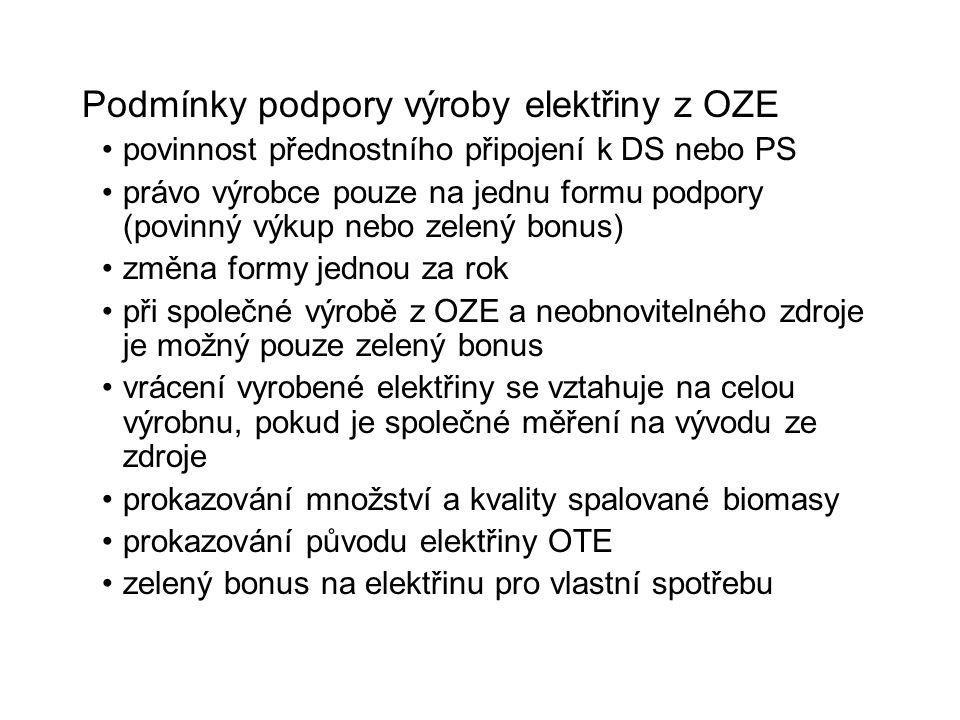 Podmínky podpory výroby elektřiny z OZE povinnost přednostního připojení k DS nebo PS právo výrobce pouze na jednu formu podpory (povinný výkup nebo z