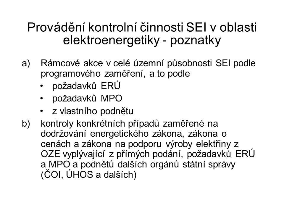 Provádění kontrolní činnosti SEI v oblasti elektroenergetiky - poznatky a)Rámcové akce v celé územní působnosti SEI podle programového zaměření, a to