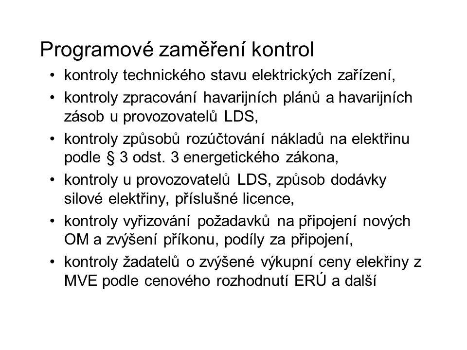 Programové zaměření kontrol kontroly technického stavu elektrických zařízení, kontroly zpracování havarijních plánů a havarijních zásob u provozovatel