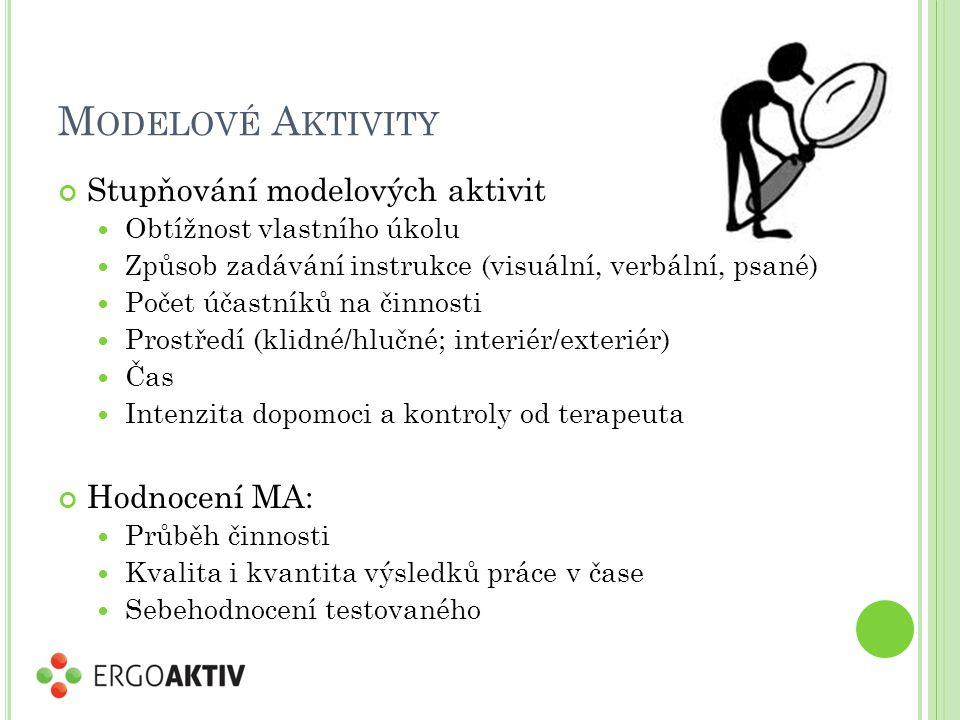 M ODELOVÉ A KTIVITY Stupňování modelových aktivit Obtížnost vlastního úkolu Způsob zadávání instrukce (visuální, verbální, psané) Počet účastníků na činnosti Prostředí (klidné/hlučné; interiér/exteriér) Čas Intenzita dopomoci a kontroly od terapeuta Hodnocení MA: Průběh činnosti Kvalita i kvantita výsledků práce v čase Sebehodnocení testovaného
