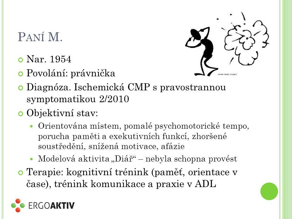 P ANÍ M. Nar. 1954 Povolání: právnička Diagnóza.