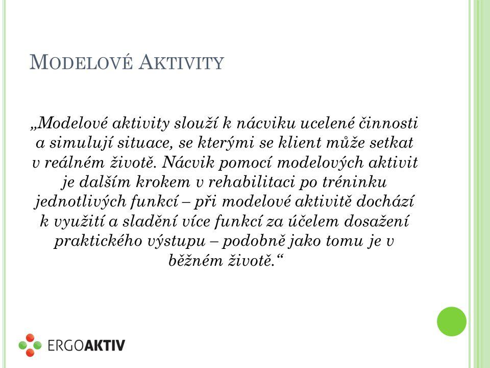 """M ODELOVÉ A KTIVITY """"Modelové aktivity slouží k nácviku ucelené činnosti a simulují situace, se kterými se klient může setkat v reálném životě."""