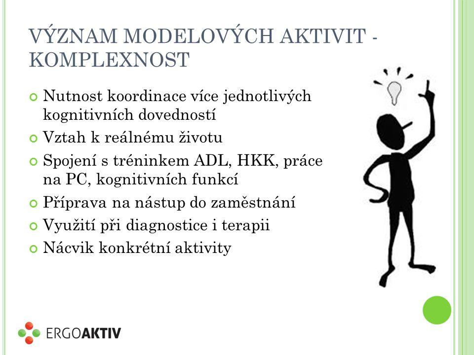 VÝZNAM MODELOVÝCH AKTIVIT - KOMPLEXNOST Nutnost koordinace více jednotlivých kognitivních dovedností Vztah k reálnému životu Spojení s tréninkem ADL, HKK, práce na PC, kognitivních funkcí Příprava na nástup do zaměstnání Využití při diagnostice i terapii Nácvik konkrétní aktivity