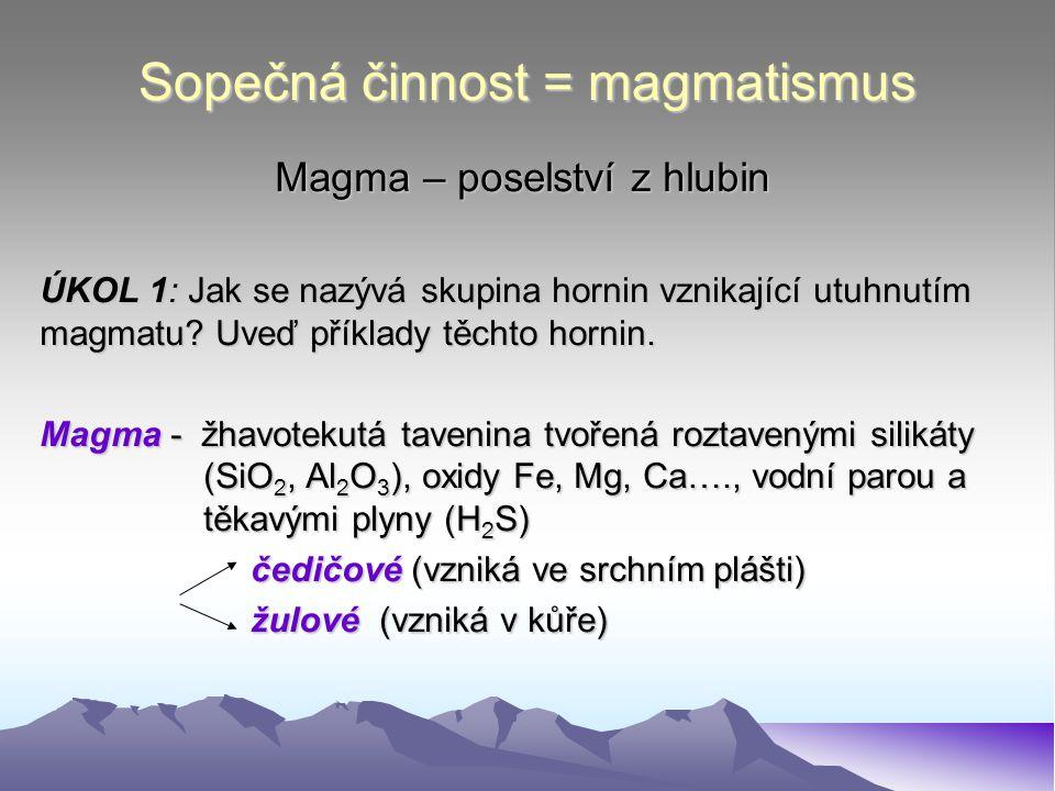 Sopečná činnost = magmatismus Magma – poselství z hlubin ÚKOL 1: Jak se nazývá skupina hornin vznikající utuhnutím magmatu? Uveď příklady těchto horni