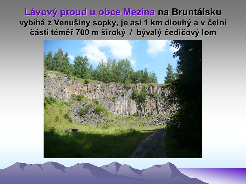 Lávový proud u obce Mezina na Bruntálsku vybíhá z Venušiny sopky, je asi 1 km dlouhý a v čelní části téměř 700 m široký / bývalý čedičový lom
