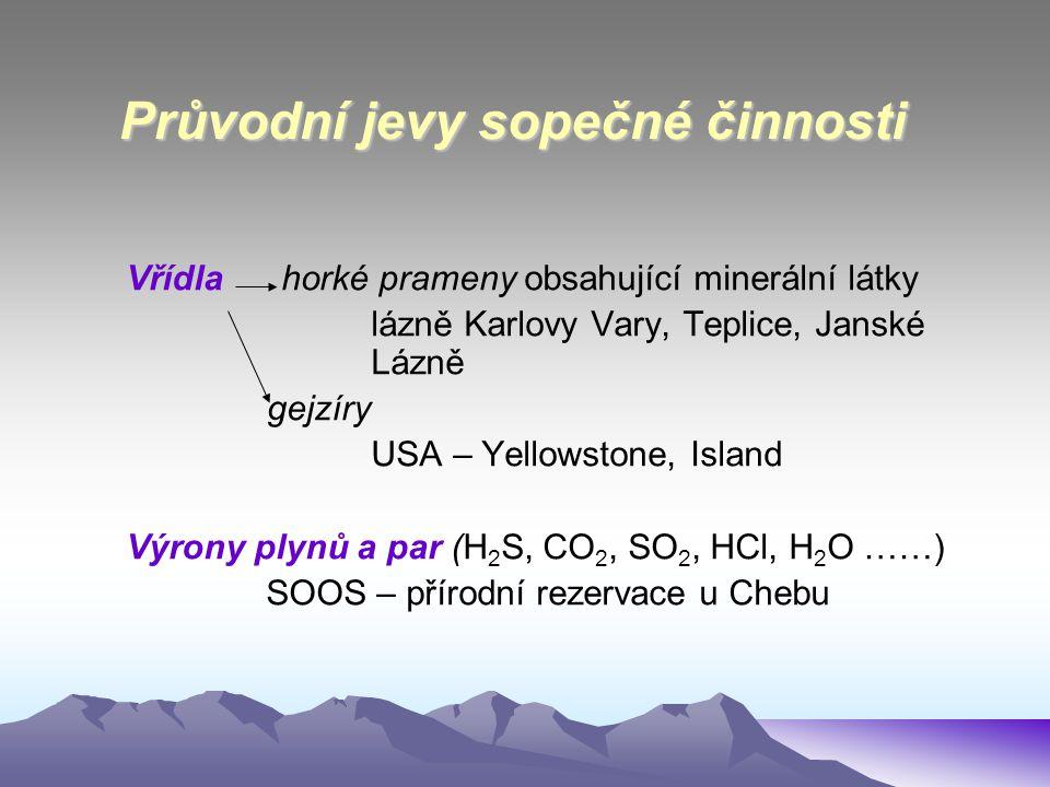 Průvodní jevy sopečné činnosti Vřídla horké prameny obsahující minerální látky lázně Karlovy Vary, Teplice, Janské Lázně gejzíry USA – Yellowstone, Is