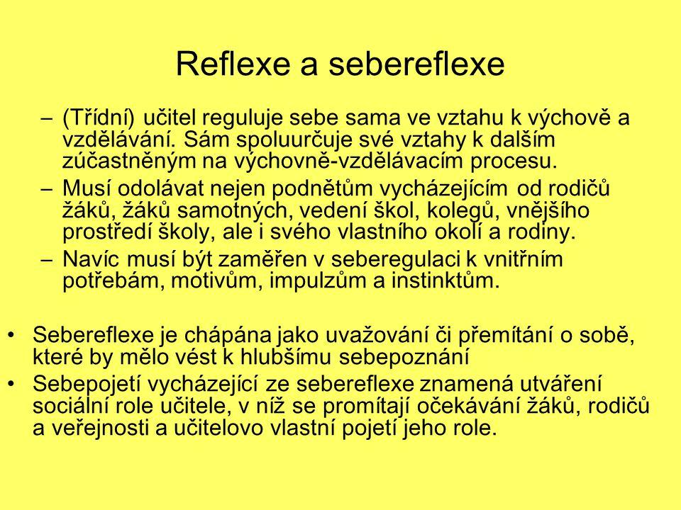 Reflexe a sebereflexe –(Třídní) učitel reguluje sebe sama ve vztahu k výchově a vzdělávání. Sám spoluurčuje své vztahy k dalším zúčastněným na výchovn