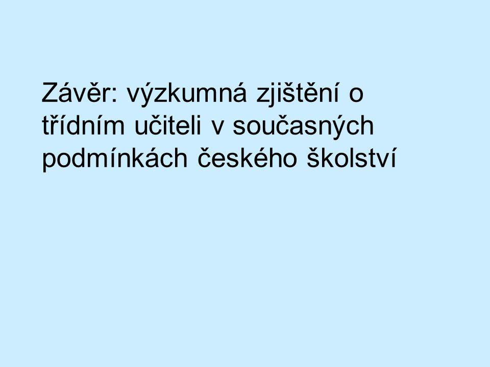 Závěr: výzkumná zjištění o třídním učiteli v současných podmínkách českého školství