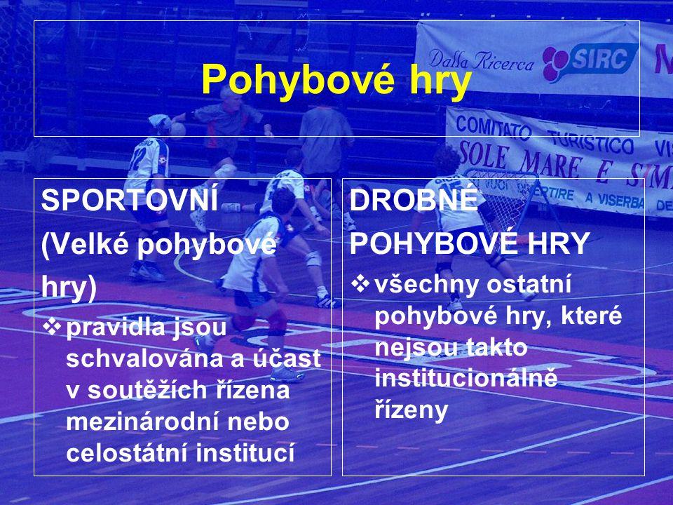 Pohybové hry SPORTOVNÍ (Velké pohybové hry)  pravidla jsou schvalována a účast v soutěžích řízena mezinárodní nebo celostátní institucí DROBNÉ POHYBOVÉ HRY  všechny ostatní pohybové hry, které nejsou takto institucionálně řízeny